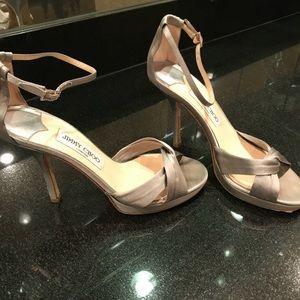 Jimmy Choo silver/grey satin heels